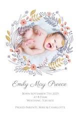 Birth Wreath - Birth Announcement Card