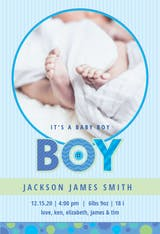 Blue Stripes Baby Boy - Birth Announcement Card