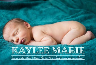 Cute Letters - Birth Announcement Card