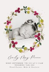 Floral Happiness - Birth Announcement Card