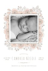Floral wrap - Birth Announcement Card