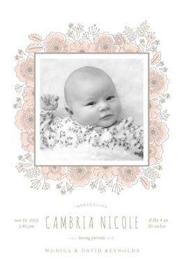 Floral wrap - Birth Announcement Card