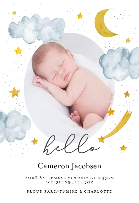Printable or Printed Birth Announcement Cards Simple Birth Announcement HorizontalLandscape Photo BA01 Photo Birth Announcements