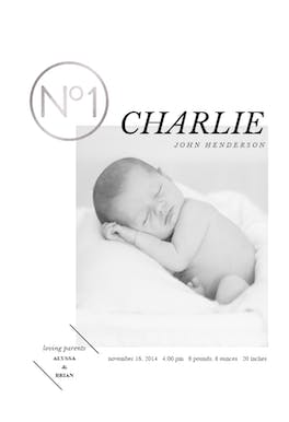 N 1 - Birth Announcement Card