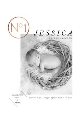 N 1 - Birth Announcement Card