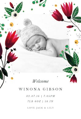 Spring Hug - Birth Announcement Card