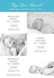 Tri Baby - Birth Announcement