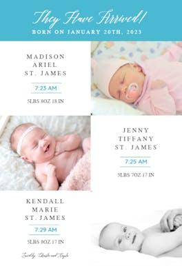 Tri Baby - Birth Announcement