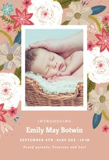 Vivid floral - Birth Announcement Card