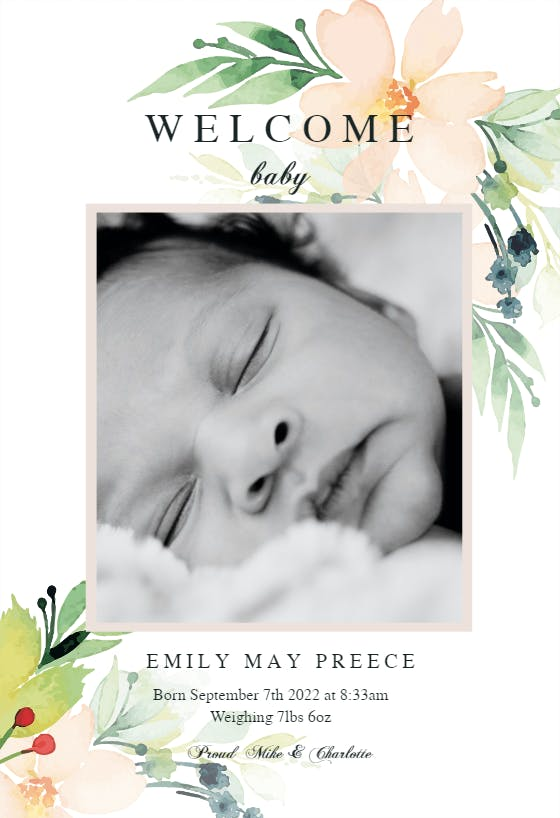 Birth Announcement Card for Social Media Coral Floral Instant Access Editable Birth Announcement Template Editable Printable Birth Reveal