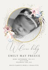 Whimsical wreath - Birth Announcement Card