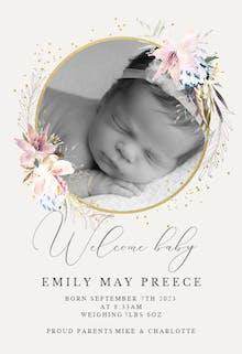 Whimsical wreath - Birth Announcement Card