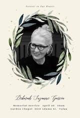 Olive leaves wreath - Memorial Card
