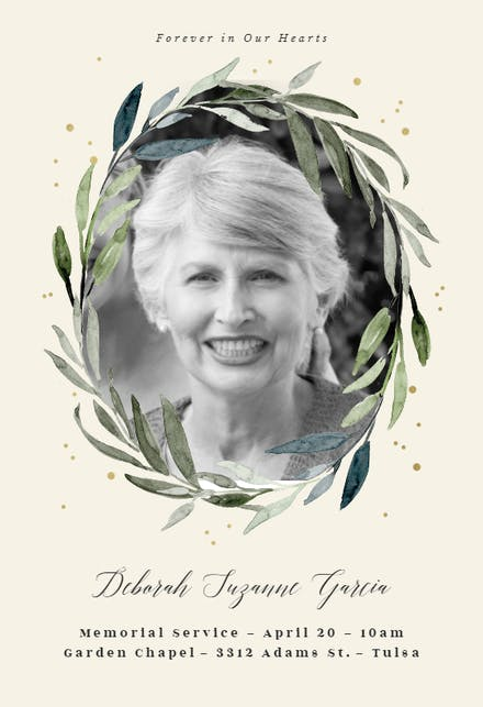 Memorial Funeral Card Templates Free Greetings Island