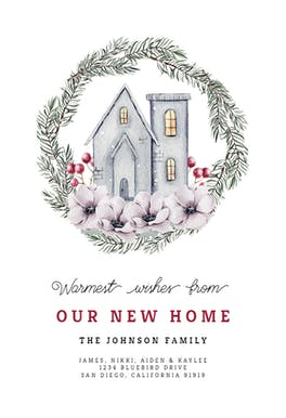 House and Pine Wreath - Moving Announcement