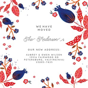 Rustic Floral - Moving Announcement