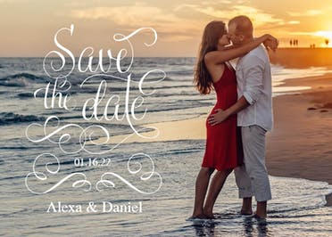 Flourished Love - Save the Date Card
