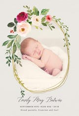 Golden floral wreath - Birth Announcement Card