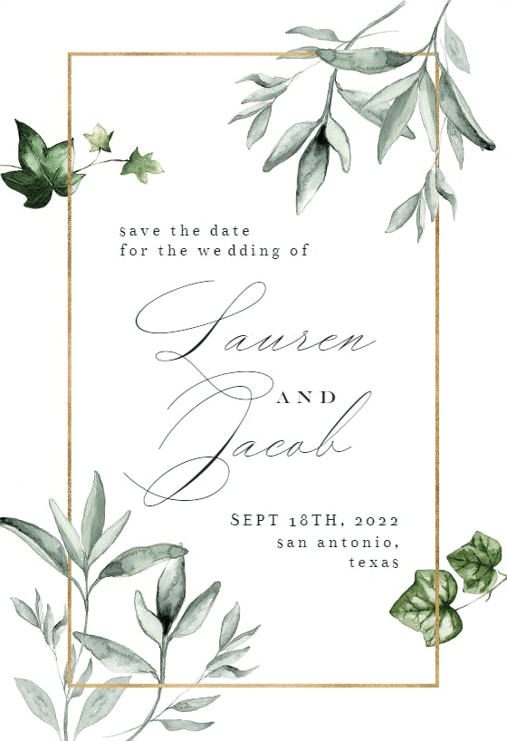 Rustic diy Printable Save the Date DIY Save the Date INSTANT DOWNLOAD Green Leaves Wreath Wedding