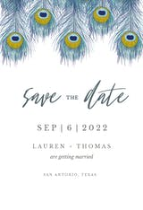 Peacock Feather - Save the Date Card