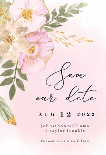 Shabby Chic Flowers - Save the Date Card