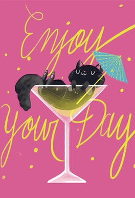 Cocktail Cat - Happy Birthday Card