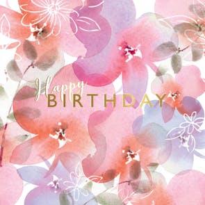 Pink Posies - Happy Birthday Card