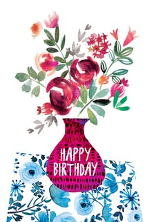 Violet and Vase - Happy Birthday Card