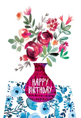 Violet and Vase - Birthday Card