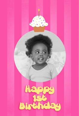 1st Cupcake, a cute and simple pink happy 1st birthday card for girls