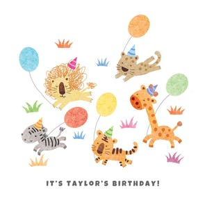 Balloon Chase, a happy birthday card template for kids with hand drawn cute animals holding balloons