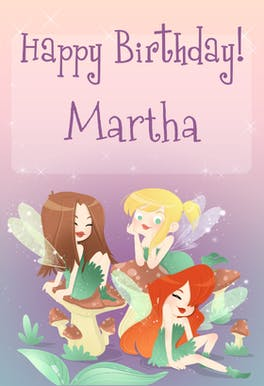 Birthday Fairies, a cute happy birthday card for girls with 3 fairies sitting on top of mushrooms on a starry purple background