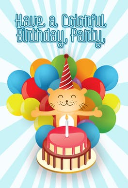 Colorful Birthday Party - Birthday Card