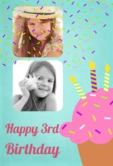 colourful Cupcake, a personalized happy birthday card with a cupcake, candles and 2 customizable pictures