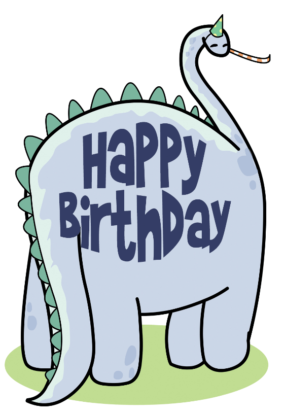 friendly dinosaur birthday card