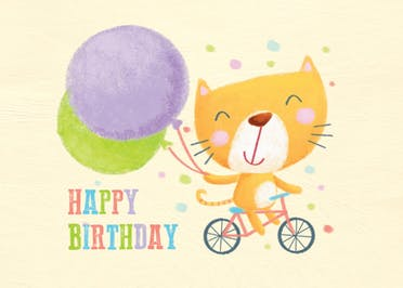 Go To Party, a pastel coloured happy birthday card for kids with a cute smiley cat riding a bicycle while holding balloons