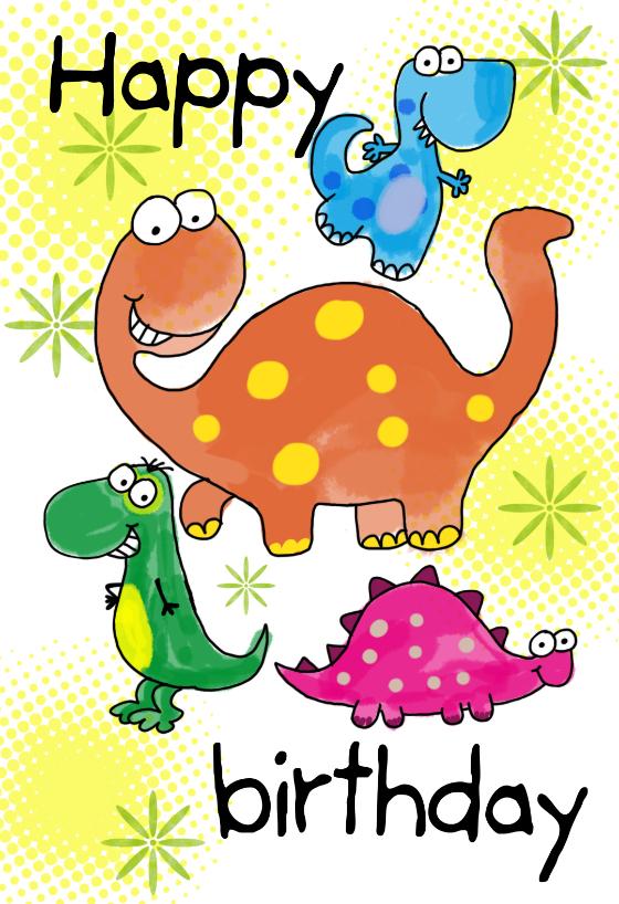 four cute dinosaurs birthday card