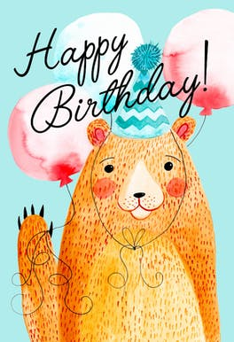 Hello Bear, a cute and jolly happy birthday card with a friendly bear wearing a birthday party hat