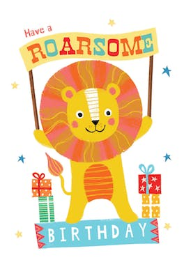 Mane Man, a hand drawn colourful happy birthday card for kids with a lion holding a banner