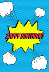 Mighty Message, a cool comics themed birthday card wishing a zappy birthday