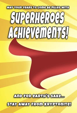 Superheroes Birthday, a comics style birthday card with a superman theme and wishing