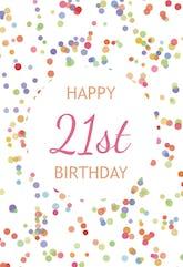 21st Birthday Confetti - Birthday Card