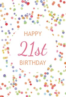 21st Birthday Confetti - Birthday Card