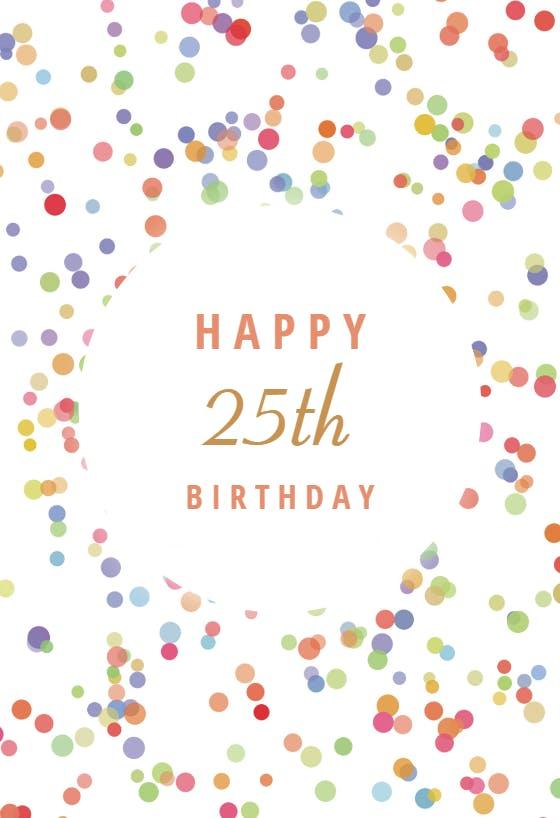 25th birthday cards  free