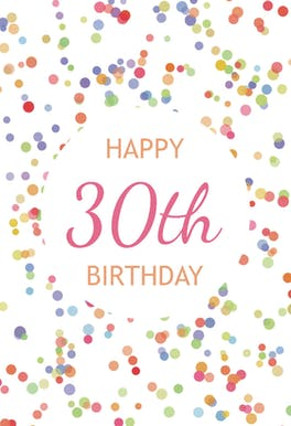 30th Birthday Confetti - Birthday Card