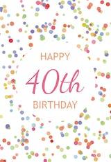 40th Birthday Confetti - Birthday Card