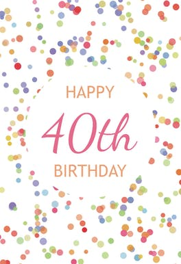 40th Birthday Confetti - Birthday Card