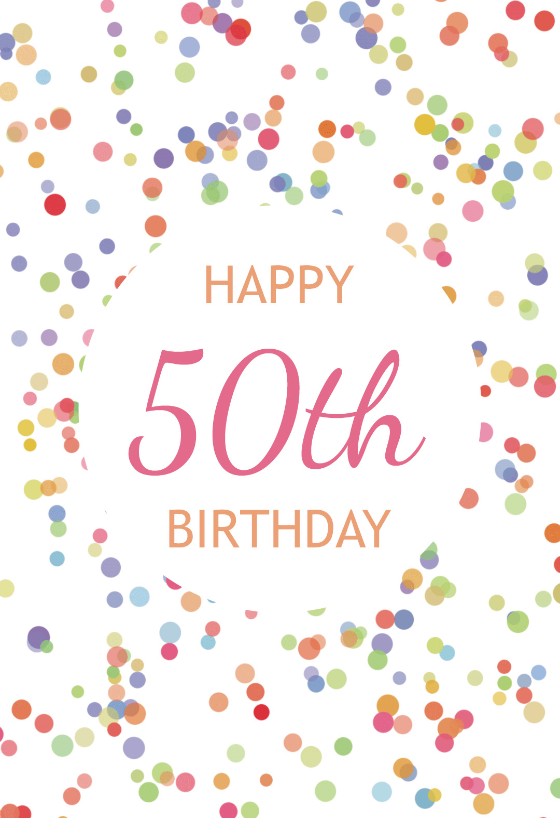 image regarding Printable 50th Birthday Cards named 50th Birthday Confetti - No cost Birthday Card Greetings Island