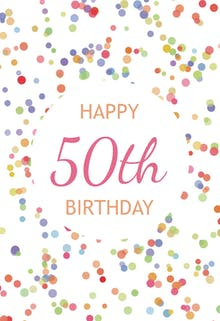 50th Birthday Confetti - Birthday Card