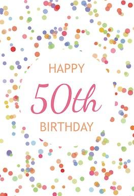 50th Birthday Confetti - Birthday Card